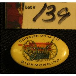 "Advertising Pin-back ""Hoosier Drill Co./Richmond, Ind."", 1896 pt."