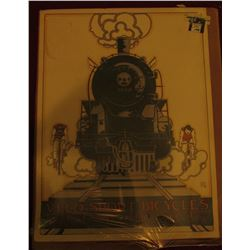 "17.5 x 23.75"" Poster ""Velo-Sport Bicycles…Berkeley…"" Depicts locomotive racing against bicyclists. 1"