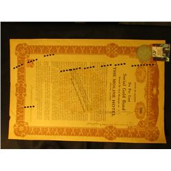 "1922 U.S.A. State of Illinois Six Per Cent Serial Gold Bond…The Moline Hotel Moline, Illinois…""; & 1"