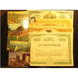 (4) Different Old Stock Certificates & (5) different Railroad related post cards dating back over si