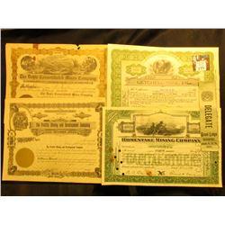 "(4) Different Mining Stock Certificates 1909-46 era; & 1901 Delegate Ribbon ""Grand Lodge Davenport…"""