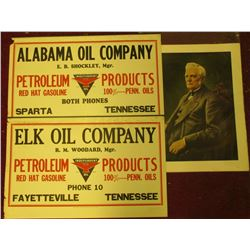 "14"" x 17"" Lithograph of (Unknown by me) Man; 12.75"" x 20.5"" Hanging Signs ""Elk Oil Company…Fayettevi"