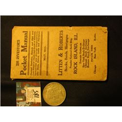 "May, 1915 ""The Investor's Pocket Manual"", Rock Island, Ill.; & 1922 D U.S. Piece Silver Dollar, Fine"