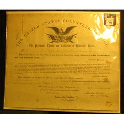 "13.25"" x 15.75"" ""The United States Volunteer Service The President's Thanks and Certificate of Honor"