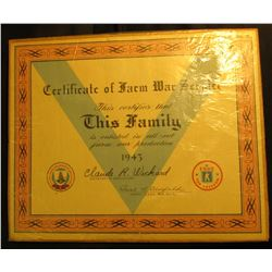 "11"" x 13.5"" ""Certificate of Farm War Service This Certifies that This Family is enlisted in all-out"