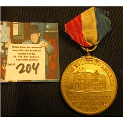 "Ribbon and badge ""Modern Woodmen of America Head Office Rock Island, Ill. 1900"", rev. ""Charles W. Ha"