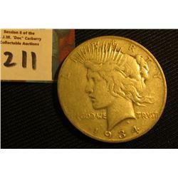 1934 S U.S. Peace Silver Dollar. Fine.