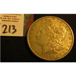 1891 P Morgan Silver Dollar. VF.