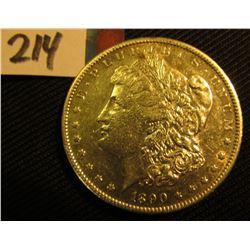 1890 S Morgan Silver Dollar. Several bag marks.