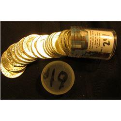 1961 P Original BU Roll of Franklin Half-Dollars in a plastic tube.