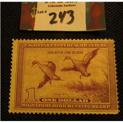 1938 Migratory Bird Hunting Stamp. RW6. Partial Gum, Mint.
