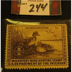 1939 Migratory Bird Hunting Stamp. RW6. Mint, No Gum.