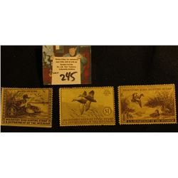 1939 signed, 1940 Mint, no Gum,  & 1941 Mint, no Gum Migratory Bird Hunting Stamps.
