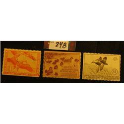1940 RW7 Mint, no gum; 1941 RW8 Mint, NH; & 1944 RW11, possibly unsigned Migratory Bird Hunting Stam