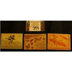 1940 RW7 Mint, no gum; 1941 RW8 Mint, NG; & 1944 RW11, light damage Migratory Bird Hunting Stamps.