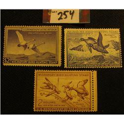 1950 RW17 Mint, NG; 1952 RW19, Unsigned, NG; & 1953 RW20, Mint, NG Migratory Bird Hunting Stamps.