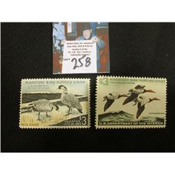 1964 RW31, Mint Lightly Hinged, 1965 RW32 Mint No Gum, Migatory Duck Hunting Stamps.