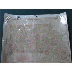 "Rand McNalley Map of Indiana dated 1915. 20.5"" x 27.75"". Ready to Frame."