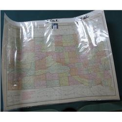 "Rand McNalley Map of South Dakota dated 1915. 20.5"" x 27.75"". Ready to Frame."