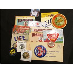 "(13) Different Beverage Bottle labels; (2) ""Ritz Crackers"" tokens; (2) Eastern Star Pins; & 1966 St."