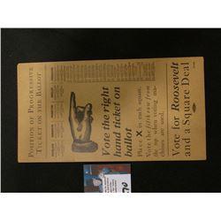 "1912 Rare Iowa Progressive Party Postcard ""Vote for Roosevelt and a Square Deal""."