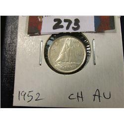 1952 Canada Silver Dime. AU.