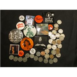 "Group of (13) Pin-backs, includes ""The Hulk"", ""Lene Lovich"", ""Andy Gibb"", ""Billy Squier"", ""Chubby Ch"