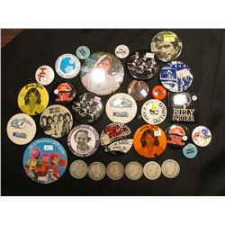 A Large Group of old Pin-backs & several different date Old U.S. Barber Half-dollars dating back to