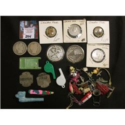 Group of old Cracker Jacks Toys, Tokens, Pipe, and memorabilia; & a pair of Old U.S. Barber Half-Dol