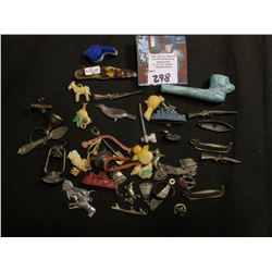 Group of Cracker Jack toys, & etc. including a clay pipe which 'Doc' had marked $75.00.