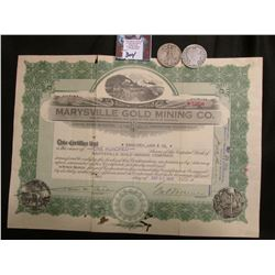 "1916 ""Marysville Gold Mining Co."" One Hundred Shares in Montana; 1908 New Orleans Mint & 1927 San Fr"