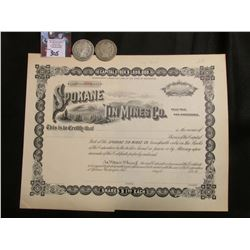 "Unissued ""Spokane Tin Mines Co."" Stock Certificate; & 1908 Philadelphia & New Orleans Mint U.S. Silv"