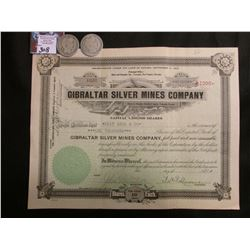 """1919 Stock Certificate """"Gibraltar Silver Mines Company"""" Nye County Nevada; & 1908 P & D Barber Half-"""