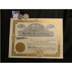 """Big Butte Mining Company Kansas City, Mo."" Incorporated in Arizona; 1908 Denver & New Orleans Barbe"