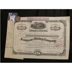 "1897 Stock Certificate ""Sampson Mining Company Salt Lake City, Ut.""; & 1897 P Barber Half-Dollar, Go"
