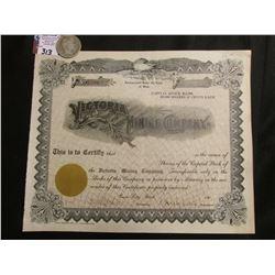 "1900 era Unissued Stock Certificate ""Victoria Mining Company, Provo City, Utah"" & 1900 New Orleans M"