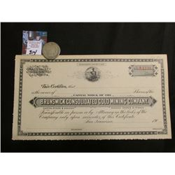 "1900 era Unissued Stock Certificate ""Brunswick Consolidated Gold Mining Company, San Francisco, Ca."""