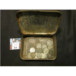 """Belwood Smoking Mixture"" Metal Tin with a group of old World War II U.S. Steel Cents."