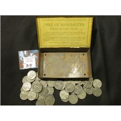 """Duke of Manchester Clear Havana Cigar""Tin with a group of old World War II U.S. Steel Cents."