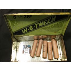 "Metal Tin ""In Cigarritos Tween"" ""In--B-_Tween Reg. U.S. Pat. Off."" filled with  (5) Original Uncircu"