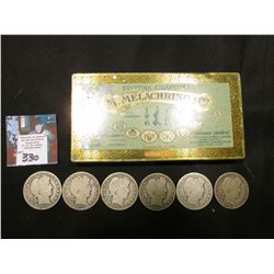 "Metal Tin ""Egyptian Cigarettes M.Melachrino & Co….""  with several 1906-08 U.S. Barber Half Dollars i"