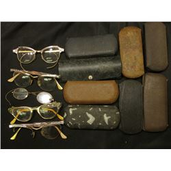 (8) Old Eye Glass Cases (empty); & a group of Old Eye Glasses, some maybe Gold-filled.