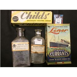 "Original antique box containing ""Childs' Brushless Shaving Cream""; empty box ""Liner Brand Cleaned Cu"