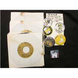 "(6) 45 RPM Records with the 1981 Iowa Hawkeye Songs ""Hawkeye Hut-Hut"" & ""Bringing Home the Roses"" by"