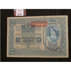 Series 1902 Austria 1000 Kronen large size Banknote, VF.