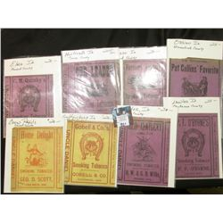 (8) Different Tobacco Box labels from various Iowa towns, mostly late 1800's, includes: Coon Rapids,