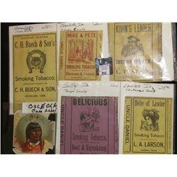 """Osceola"" Cigar Box label (rough condition); & Tobacco Box labels from Charlotte, Ia., Tipton, Ia.,"