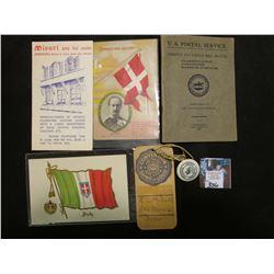 "Postcard ""Frederik VIII King of Denmark""; ""Misuri arte del cuoio… St. Croce"" advertising brochure fo"