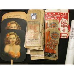 Large Group of 1930 era Unused Carmel Corn Bags, Popcorn Bags, & etc. 'Doc' originally sold these at