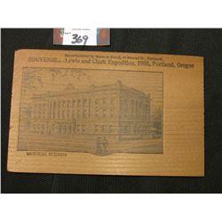 "Wooden Postcard ""Manufactured by Mann & Beach, 92 Second St., Portland, Souvenir---Lewis and Clark E"